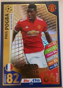 2017/18 Match Attax UEFA Paul Pogba Gold Limited Edition LE7G Manchester United