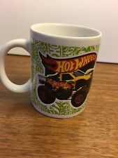 Hot Wheels Coffee Cup Mug Monster Truck Race Car Green Text Excellent Condition