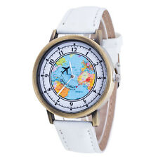 Fashion Women's World Map Cowboy Band Analog Quartz Wrist Watch White New Sale