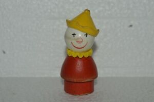 1976 Fisher Price Little People THE CLOWN Wood Base Original Very Good Condition