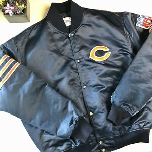 Vintage Chicago Bears Satin Men's Jacket Starter Quilted Lined Snaps Sz XL NFL