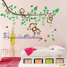 1.7M Width Cheeky Monkey Tree Baby Kid Nursery Room Wall Decals Decor Stickers