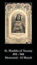 St Matilda of Saxony Prayer CARD (wallet size)