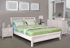 NEW QUEEN SIZE BED FRAME - SOLID TIMBER SAVANNA QUEEN WHITE BED -
