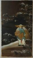 "Vintage Oil Painting on Canvas Traveling Man Unframed Art Decor (25"" x 14"")"