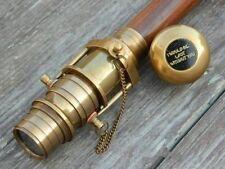 Wooden folding Walking Cane Stick with Hidden spy Brass Telescope on Handle new