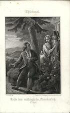Stampa antica THUMMEL Innamorati sorpresi 1860 Old antique print Alte stich