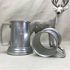 2 PLAYBOY CLUB Bunny Vintage Aluminum ~Glass Bottomed Beer Steins Metal Tankard