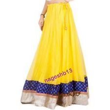 Indian Long Skirt, Bollywood Skirt, Yellow Net Skirt With Border, Dance Skirt