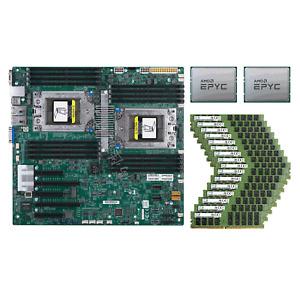 Supermicro H11DSi Motherboard +2x AMD EPYC 7K62 48 Cores CPU +16x 32GB 2666V RAM