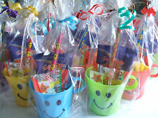30 PRE FILLED CHILDREN'S SMILEY CUP PARTY LOOT FAVOUR IN CELLO BAG WITH RIBBON