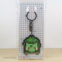 Pokemon Center Original Metal Key chain Bulbasaur Game Dot Pixel design Holder