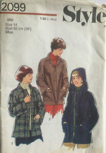 VTG 70s 80s Style Sewing Pattern Unlined Jacket Optional Detachable Hood Size 14