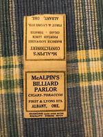 1920s Albany ORegon Advertising Matchbook McAlpin's Billiard Parlor Pool Hall !