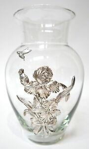 ARTHUR COURT Iris Bouquet Aluminum Design Flower Glass Vase 14 in Tall