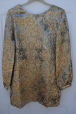 ZARA Jacquard Shimmer Metallic Party/Cocktail Shift Dress Gold M Ref: 8012/413