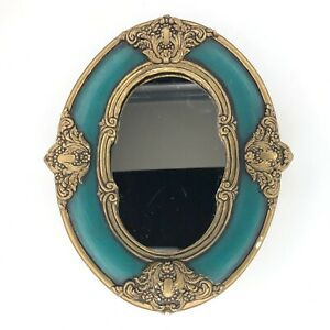 Vtg Mid Century Wall Mirror Oval Gold Green Ornate Plaster Accent Decor