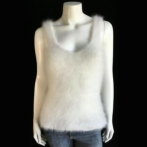 """Fuzzy 100% Angora Vintage Hand-knit Off-White Camisole Tank-Top Sweater 32""""-Bust"""