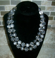 """Qvc Joan River Vintage Style Firepolish Clear Bead 36"""" Goldtone Necklace"""