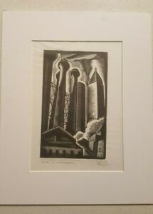 Original E.M.Washington The three chimneys Woodcut