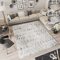 Kurzflor Teppich Modern Creme Grau Gitter Auge Designer Wohnzimmer Meliert NEU