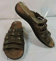 DANSKO Sandals 40 BRONZE Leather Brass Snaps 5 straps WORN ONE TIME