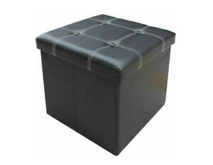 Black Ottoman Faux Leather Toy Storage Box Home Office Stool Guest Spare Seat