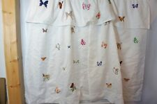 JCP HOME Shower Curtain Matching Tier White Embroidered Butterflies Birdhouses