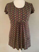 Womens Seasalt cotton top/t shirt in blue/grey floral short sleeves size 12.