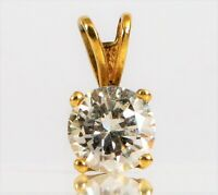 VINTAGE 14K YELLOW GOLD FINE FASHION FLASHY CZ SOLITAIRE PENDANT FOR NECKLACE !