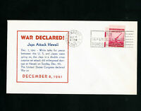 US WWII Declaration Cover 12/8/1941