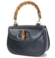 Authentic GUCCI Black Leather Bamboo Handle Handbag Purse #33860