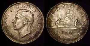 CANADA 1937 Silver Dollar Ch BU **