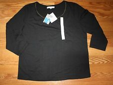 NWT Womens ELLEN TRACY CO Black Embellished 3/4 Sleeve Shirt Blouse S Small