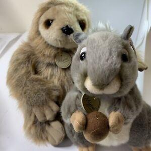 "Aurora World Miyoni Sloth and Grey Squirrel 8""  Lot of 2 Plush Animal friends"