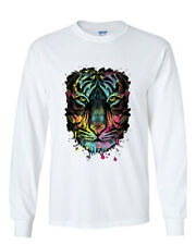 Neon Dripping Tiger Face Long Sleeve T-Shirt Wildlife Rave Music