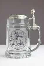Alter Bierkrug Zeche Bergbau Glas Zinn Deckel