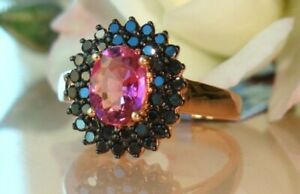 2.50Ct Oval Cut Pink Tourmaline Diamond Halo Engagement Ring 14K Rose Gold Over