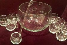 Punch Bowl Toscany Hand Blown Glass Romania Set Bowl 8 cups Ladle NEW UNUSED