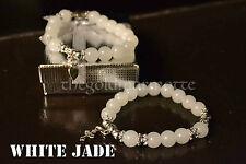 Elegant White Jade Rosary Bracelet