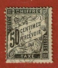 FRANCE: TIMBRE TAXE:N°20: 50 centimes Noir au type DUVAL, Oblitéré -