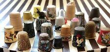 Vintage Lot of 23 Thimbles Metal Porcelain Wood Shell plastic Pewter