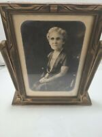 """Beautiful Vintage Art Deco Wood Swivel Picture Frame 8"""" x 10"""" with Gold Gilt"""