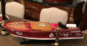 Luxus Modellboot mit Ständer Rot / Braun / Weiß 97 cm  Deko Holzboot Riva Boot