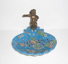 Seifenschale - Schale - mit Engel aus Bronze - BLAU-TÜRKIS - neu!