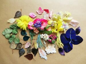 vintage hat project velveteen flowers leaves millinery lot