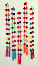 Handmade Mexican Pom Pom Garland Bright Multi-Colored Decor Wholesale Available