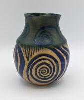 "Artist Signed Blue Green Glaze Painted Studio Art Pottery Vase Handmade 5"""