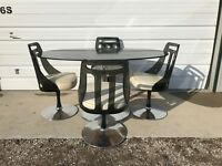 Dining Set Tulip Table Lucite Chair Black Mid Century Modern MCM Swivel Chairs