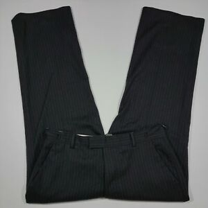 Banana Republic Flat Front Flannel Dress pants Black Pinstriped Wool Nylon 34x32